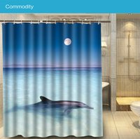 bath shower curtain beach - Cute White dolphin beach Modern Custom x180cm Shower Curtain Waterproof Bath Curtain
