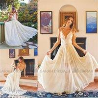 Wholesale Bohemian A Line Wedding Dresses For Beach Garden Brides Hot Sale Bridal Party Gowns Cheap Open Backless See Through Vestidos De Novia