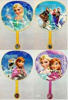 Wholesale 2015 girl kid summer frozen anna elsa princess plastic circular Cartoon folding fan cooling fan hand fan cool tools gift TOPB2745