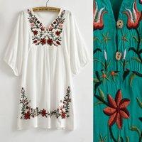 hippie clothing - Vintage s Mexico Ethnic Floral Embroidery BOHO Mini Dresses Hippie Blouse Women Dress Plus Size Women Clothing Summer Dress Vestidos TOP