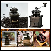 Wholesale HOT Mini Manual Coffee Bean Milling Machine Wood Stand Bowl Antique Hand Coffee Milling Machine
