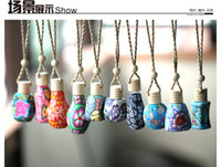 Wholesale Hot sale ml Car hang decoration Ceramic essence oil Perfume bottle Hang rope empty bottle
