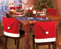 Wholesale DHL Freeshipping Santa Clause Red Hat Chair Back Covers for Christmas Dinner Decor NewParty Supply Favor