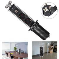 Wholesale 1 Led Light USB European Socket Plug Outlet Pull up Socket Power Point For Kitchen Office Desk Worktop Set Silver Black