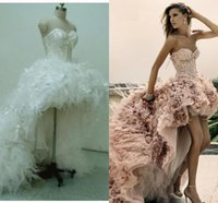 Wholesale 2015 Prom Dresses High low Sweetheart Newest Short Front Long Back Wedding Dress Feather Lace Up Light Pink Evening Gowns Real