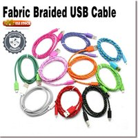 Wholesale US STOCK Nylon Braided Fabric Flat pin USB Data Sync Cable Charging Cord For i5