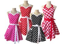 Wholesale 50s Retro Sweetheart Cotton Polka Dot Apron Dress Bridesmaid Show Christmas Party Sexy Apron Mother s Day Gift