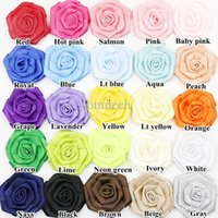 Wholesale quot Satin ribbon Rolled flower Satin rose Multi Layers flowers for baby girl hair accessories