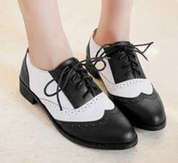 ancient spells - 2015 British ancient ways Round head spell color black white lace up oxford shoes for women scarpe Oxford chaussures oxford