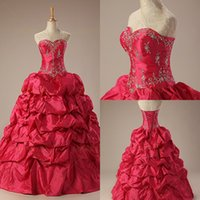 Wholesale Quinceanera Dresses Masquerade Ball Gowns Sweetheart Lace up Back Embroideries Red Floor Length Girls Prom Party Gowns IN STOCK SWD0002