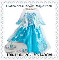 baby magic girls - Girls Dresses Frozen long sleeves Fall dress girl party dress anna princess costume baby girls elsa dress crown magic stick