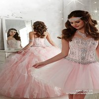 Wholesale Sweetheart White Ball Gowns - Light Pink Detachable Ball Gown Quinceanera Dresses Sweetheart Crystal Beaded Organza Full Length Masquerade Sweet 16 Dresses Corset Lace Up