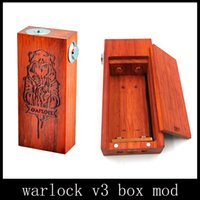 Wholesale Warlock V3 Wooden Box Mod Dual Battery Mechanical Wood Mod Low Resistance Copper Contact Thread Vapor Mod by DHL free