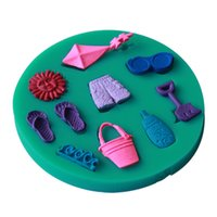 beach shorts slippers - Silicone D Happy Summer Beach Vocation Sun Kite Sea Wave Slipper Shorts Fondant Decorating Mould Kitchen DIY Tools Soap Mold