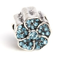 Wholesale pandora charms for jewelry making silver flower bead full cyrstal silver plated charm silver flower mm