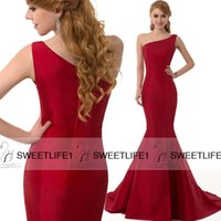 Wholesale One Shoulder Red Satin Mermaid Long Evening Dresses Sleeveless Formal Party Prom Gowns Hot Sale Sweep Train Zipper Elegant High Quality