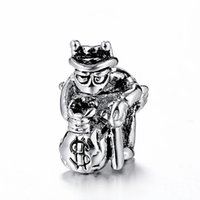 Metals Holidays, Seasonal Silver Rich Feudal Lord With Walking Stick Charm 925 Sterling Silver European Charm Fit For Snake Chain Bracelet DIY Jewelry