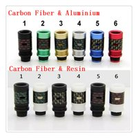 Wholesale Carbon Fiber resin or aluminium Drip Tips Air Control Wide Bore Drip Tips Colorful Drip tip fit RDA Atomizer