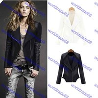 Wholesale Women Leather Motorcycle Jacket Slim Leather Jacket Turn Down Long Sleeve Zipper Jacket Coat