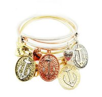 letters and numbers - 5PCS Fashion Charms Bracelet Alex and Ani Expandable Wire Bangles Love Coin Anchor Alloy Vintage Wristband For Women and Men