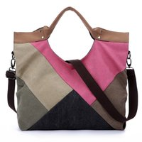 big pattern blocks - Fashion Large Capacity canvas shoulder bags patchwork vogue pattern brand casual vintage big color block panel women s
