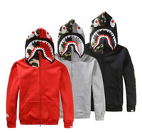 Wholesale Japanese styles Shark Hoodie Men Women fashion Harajuku Cool fun Cartoon Sweater Jacket WGM Full Zip Hoodie Fleece Cardigan Sweatshirt Coats