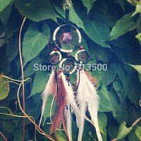 america native - fashion wind chimes Brown and White Feather Indian Native America Dream Catcher Decor