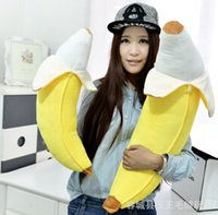 Unisex banana video - Hot sale creative plush toy banana shape cushion holding pillow home decoration cm HW25