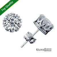 Wholesale 2015 Top Fashion New Phone Cases Stud Earings Fashion Jewelry Unisex Trendy Women men Crystal Earrings Crown Earring Piercing Gifts Y048