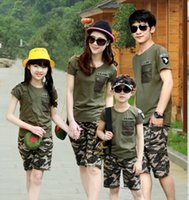 Wholesale Army Green Cotton Camouflage T shirt Short summer family fitted clothes beach family clothes