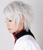Wholesale Gintama Sakata Gintoki Cosplay Costume Wig Silvery White Short Hair B28
