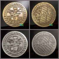 army challenge coins - 2 Mixed Apache AH64 Antique Silver Plated and Gold Plated Army Challenge Coins