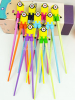 Wholesale 2015 pairs minions chopsticks despicable me baby learning chopsticks by DHL Fedex