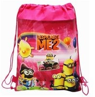 Wholesale 2015 New Hotsale Despicable Me Minions Kids Cartoon Drawstring Backpack School Bags Minecraft Drawstring Bag Gift Bags Creeper JJ Bag