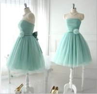 Cheap Short Lovely Tulle Bridesmaid Dresses For Teens Young Girls Chic Flower Bow Sash Lace up Strapless Bridal Wear Gowns