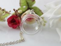 Wholesale 10pcs MM MM Glass Globe Shadow Box Necklace Handblown Glass Globe Necklace Glass Globe Bubble Vial necklaces