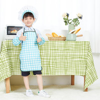 baby chef hat - 10sets Plaid Polyester Lovely Cute Kids Chef Hat Baby Drawing Apron Costume Sets Chef Hat and Apron