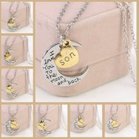 stainless steel necklace clasp - New Moon Clasp Pendant Necklace Hot Slae Gold Silver Plated Link Vintage Necklace Mum Dad Daughter Son Mark Family Love Gifts Necklaces