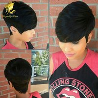Wholesale Human hair short cut inch None bob lace wigs with bangs with natural hairline with strap at the back