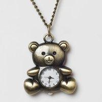 bear pocket watch - Vine Antique Bronze Necklace Chain Bear Quartz Pocket Watch Battery Included Women s Wrist Length Table Clothes WH