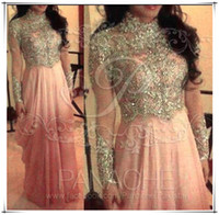 High Neck collar t-shirt - Arabic Muslim pink high neck collar A line chiffon prom dresses sequins beaded lace long sleeves Myriam Fares evening gowns BO5728