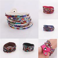 Wholesale 2014 New Fashion Colors Layer Warp Tennis Leather Barcelet Pure Color Gem Multilayer Leather Bracelet Bangles