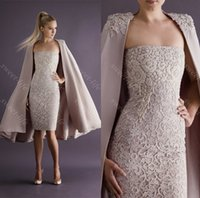 Cheap 2015 Sexy Gray Lace Cocktail Dresses With Jacket Beading Applique Knee Length Paolo Sebastian Short Prom Party Dress Gowns Homecoming Dress