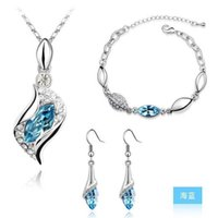 african american woman - Top Grade Silver Jewelry Sets Fashion Hot Sale Crystal Earrings Pendant Necklaces Bracelets Set for Women Girl Party Gift LD