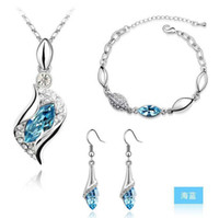 gemstone earrings - Crystal Jewelry Sets Bridal Wedding high grade Rhinestones Gemstone Sea Heart Earrings Necklaces bracelets LD