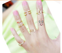 anchor finger - Fashion womens infinity midi finger ring brand design anchor skull ring pinky set ring