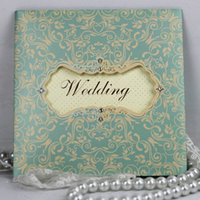blank cards - 2015 New Arrive Wedding Invitations Print Flower Blank Inner Sheet Wedding Invitation Card With Crystal Decorations Wedding Cards