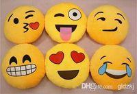 Wholesale Smile Emotion Round Cushion Pillow Stuffed Plush Soft Toy iPhone Emoji Bolster