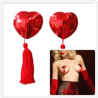 Cheap Breast Pasties Best Red Sequin Nipple
