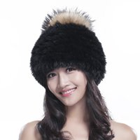 Wholesale Women s rabbit fur hat with big raccoon fur pom poms flexible fur beanies winter rabbit headgear new fashipon snow cap